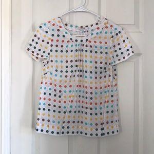 Boden polka dot 100% linen short sleeve top